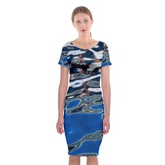 Colorful Reflections In Water Classic Short Sleeve Midi Dress