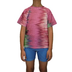 Rectangle Abstract Background In Pink Hues Kids  Short Sleeve Swimwear