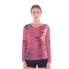 Rectangle Abstract Background In Pink Hues Women s Long Sleeve Tee