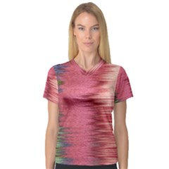 Rectangle Abstract Background In Pink Hues Women s V Neck Sport Mesh Tee