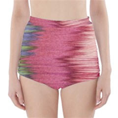 Rectangle Abstract Background In Pink Hues High Waisted Bikini Bottoms