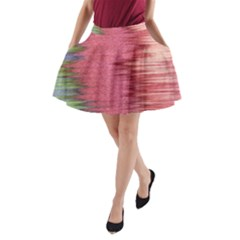 Rectangle Abstract Background In Pink Hues A Line Pocket Skirt