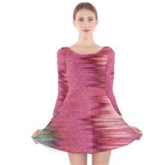 Rectangle Abstract Background In Pink Hues Long Sleeve Velvet Skater Dress
