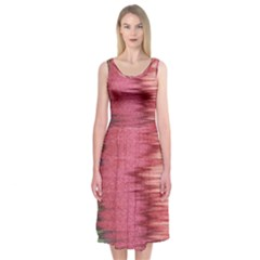 Rectangle Abstract Background In Pink Hues Midi Sleeveless Dress