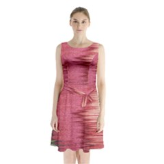 Rectangle Abstract Background In Pink Hues Sleeveless Chiffon Waist Tie Dress