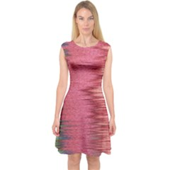 Rectangle Abstract Background In Pink Hues Capsleeve Midi Dress