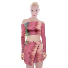 Rectangle Abstract Background In Pink Hues Off Shoulder Top With Skirt Set