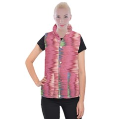 Rectangle Abstract Background In Pink Hues Women s Button Up Puffer Vest