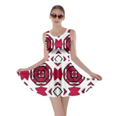 Seamless Abstract Pattern With Red Elements Background Skater Dress