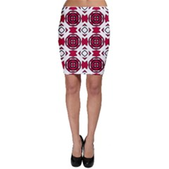 Seamless Abstract Pattern With Red Elements Background Bodycon Skirt