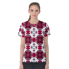Seamless Abstract Pattern With Red Elements Background Women s Cotton Tee