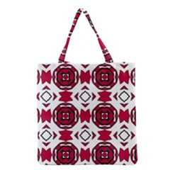 Seamless Abstract Pattern With Red Elements Background Grocery Tote Bag