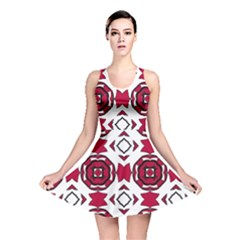 Seamless Abstract Pattern With Red Elements Background Reversible Skater Dress