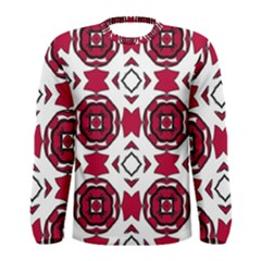 Seamless Abstract Pattern With Red Elements Background Men s Long Sleeve Tee
