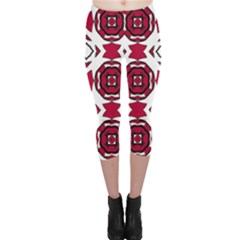 Seamless Abstract Pattern With Red Elements Background Capri Leggings