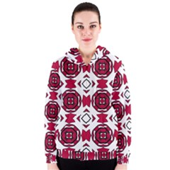 Seamless Abstract Pattern With Red Elements Background Women s Zipper Hoodie