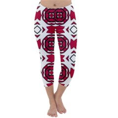 Seamless Abstract Pattern With Red Elements Background Capri Winter Leggings