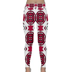Seamless Abstract Pattern With Red Elements Background Classic Yoga Leggings