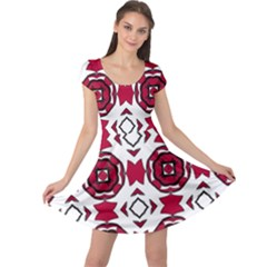 Seamless Abstract Pattern With Red Elements Background Cap Sleeve Dresses
