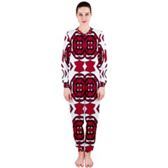 Seamless Abstract Pattern With Red Elements Background OnePiece Jumpsuit (Ladies)