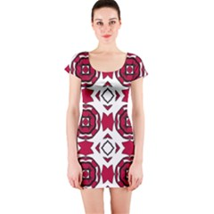 Seamless Abstract Pattern With Red Elements Background Short Sleeve Bodycon Dress