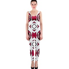Seamless Abstract Pattern With Red Elements Background OnePiece Catsuit