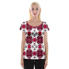 Seamless Abstract Pattern With Red Elements Background Women s Cap Sleeve Top