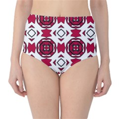 Seamless Abstract Pattern With Red Elements Background High-Waist Bikini Bottoms