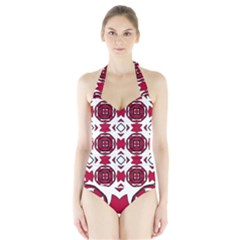 Seamless Abstract Pattern With Red Elements Background Halter Swimsuit