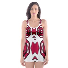 Seamless Abstract Pattern With Red Elements Background Skater Dress Swimsuit