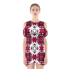 Seamless Abstract Pattern With Red Elements Background Shoulder Cutout One Piece
