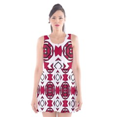 Seamless Abstract Pattern With Red Elements Background Scoop Neck Skater Dress