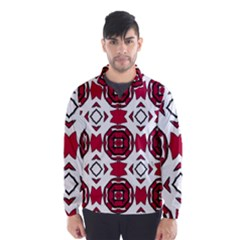 Seamless Abstract Pattern With Red Elements Background Wind Breaker (men)