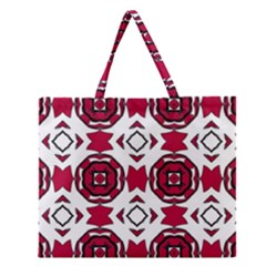 Seamless Abstract Pattern With Red Elements Background Zipper Large Tote Bag