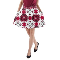 Seamless Abstract Pattern With Red Elements Background A Line Pocket Skirt