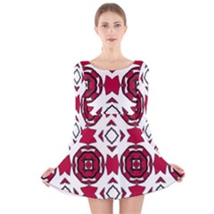 Seamless Abstract Pattern With Red Elements Background Long Sleeve Velvet Skater Dress