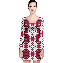 Seamless Abstract Pattern With Red Elements Background Long Sleeve Velvet Bodycon Dress