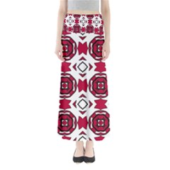 Seamless Abstract Pattern With Red Elements Background Maxi Skirts