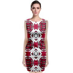 Seamless Abstract Pattern With Red Elements Background Classic Sleeveless Midi Dress