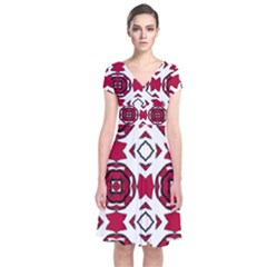 Seamless Abstract Pattern With Red Elements Background Short Sleeve Front Wrap Dress