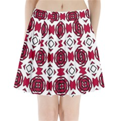 Seamless Abstract Pattern With Red Elements Background Pleated Mini Skirt