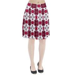 Seamless Abstract Pattern With Red Elements Background Pleated Skirt