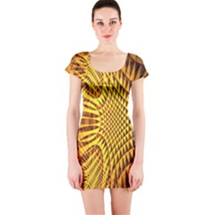 Patterned Wallpapers Short Sleeve Bodycon Dress