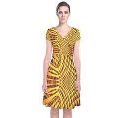 Patterned Wallpapers Short Sleeve Front Wrap Dress
