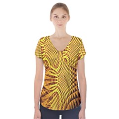 Patterned Wallpapers Short Sleeve Front Detail Top