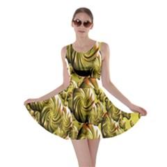 Melting Gold Drops Brighten Version Abstract Pattern Revised Edition Skater Dress