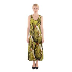 Melting Gold Drops Brighten Version Abstract Pattern Revised Edition Sleeveless Maxi Dress