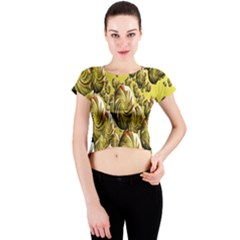 Melting Gold Drops Brighten Version Abstract Pattern Revised Edition Crew Neck Crop Top