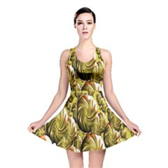 Melting Gold Drops Brighten Version Abstract Pattern Revised Edition Reversible Skater Dress
