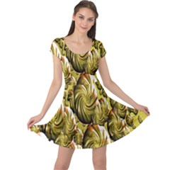 Melting Gold Drops Brighten Version Abstract Pattern Revised Edition Cap Sleeve Dresses